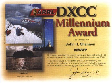 Picture of my 2k DXCC award